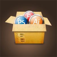 Create a Cardboard Box Filled With Glossy Icons