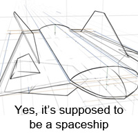 Perspective Basics: A Draw-Through Technique, With a Spaceship
