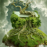 "Create a Floating Over-Grown ""Tree House"" in Photoshop"