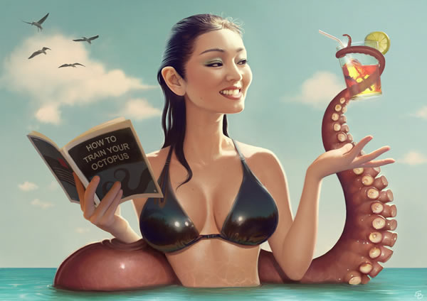 девушка, азиатка, осьминог, книга, вода, коктейль, рисунки, девушки...