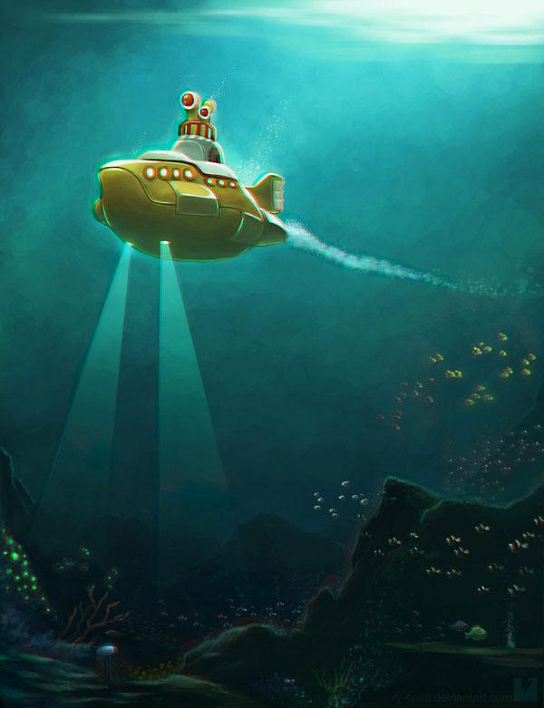 мультфильм коробка в стиле желтой подводной лодки