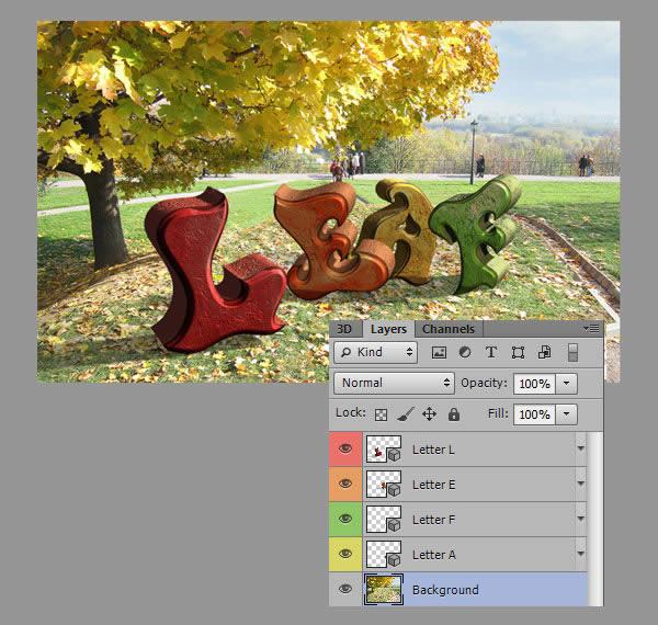 Học step016 Hiệu Ứng Text Mùa Thu với Photoshop CS6 Mở Rộng (P1)