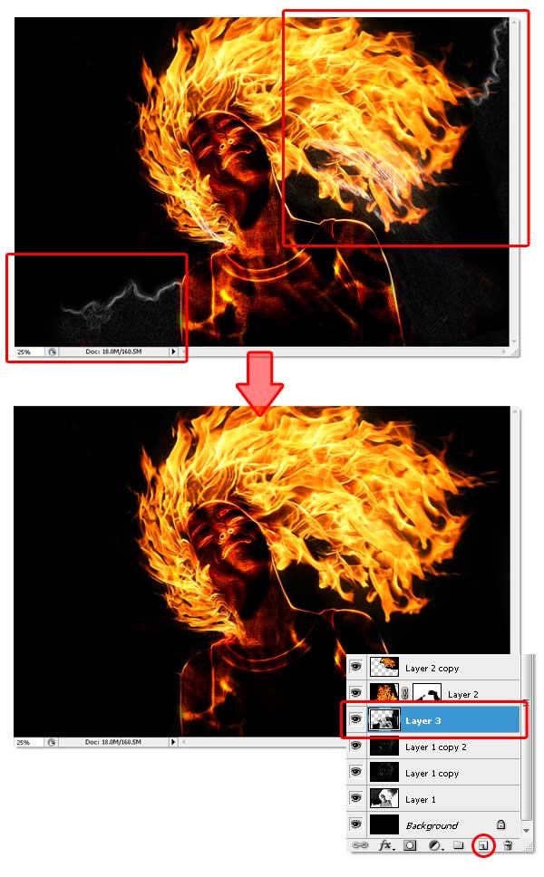19 - Adobe Photoshop | Yanan fotoğraf manipülasyonu oluşturma ( ileri seviye )