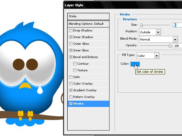 在Photoshop中创建一个可爱的图标Twitter的鸟