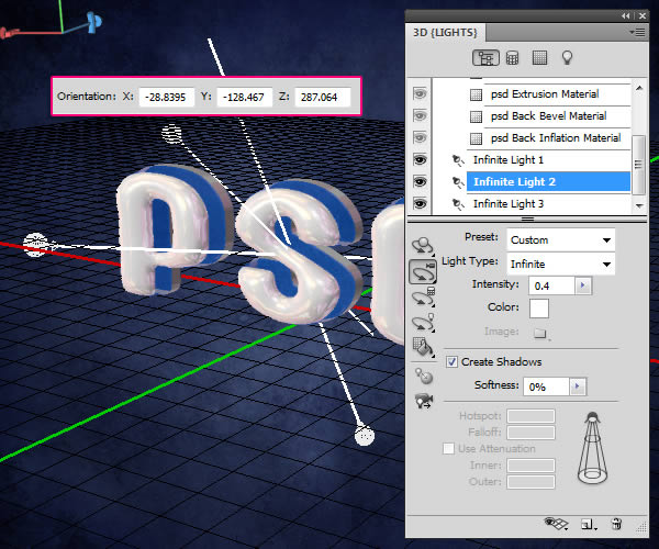Tao Hieu ung 3D Text trong Photoshop CS5