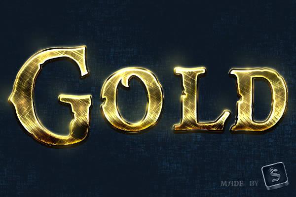 gold text effect final Tạo Hiệu Ứng Chữ Vàng Bóng, Cổ trong Photoshop