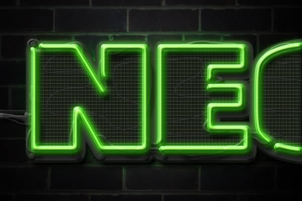 [Photoshop] Neon Text Effect Wire-Neon