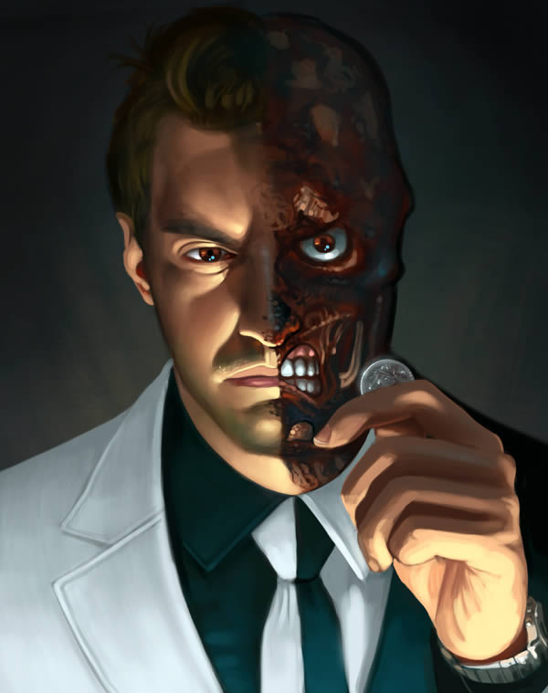 """Two Face Harvey Dent: Create A """"Two-Faced"""" Digital Painting In Photoshop"""