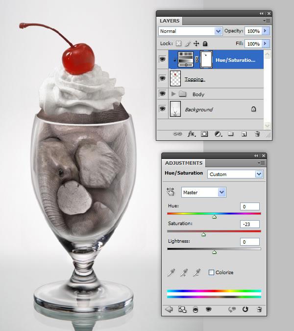 elephant 47 Tạo Một Ly Kem Hình Chú Voi trong Photoshop