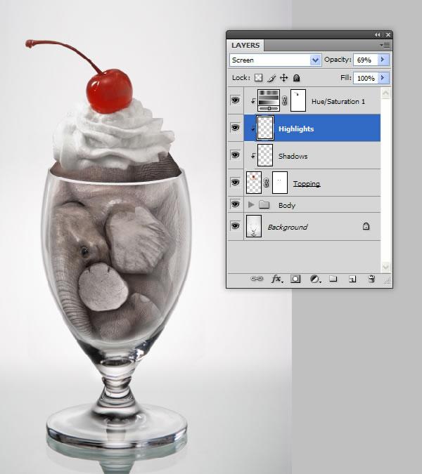 elephant 48a Tạo Một Ly Kem Hình Chú Voi trong Photoshop