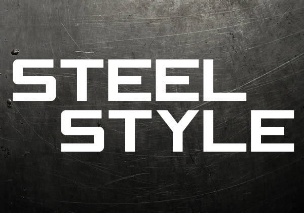 text steel style